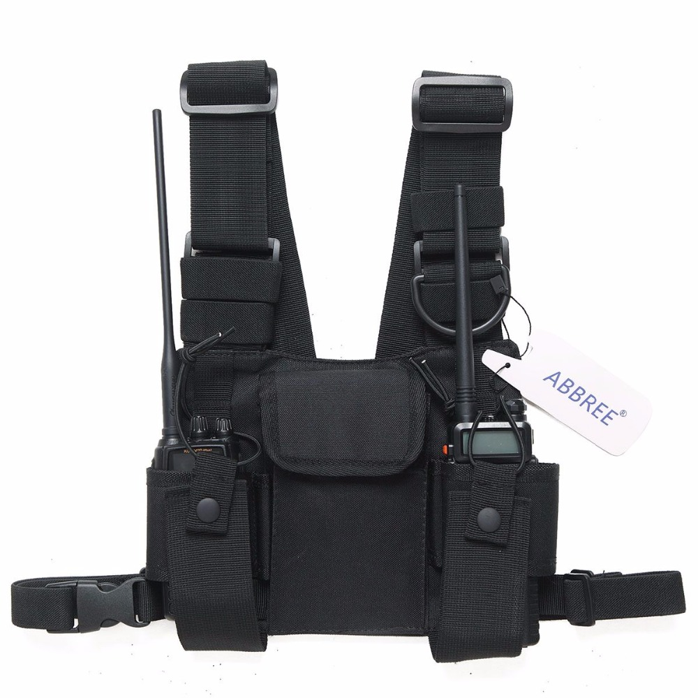 Funda de la bolsa del bolso del pecho del arnés de la Radio bolsa de transporte de la plataforma del chaleco para Baofeng UV-5R BF-888S UV-9R UV-82 TYT Motorola Walkie Talkie