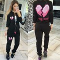 Tracksuit 2016 Sweatshirt Hoodies Long Sleeve Tops Full Pants Slim Fit women Suit Women Two Piece Set Love Printed new Femme