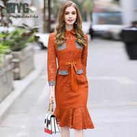 Kobiety Sweet Orange Lace 2018 New Arrival Podwójne Pakiety Przodu Pojedyncze Łuszcz Własna Tie Talii Panie Slim Bodycon Mermaid Dress