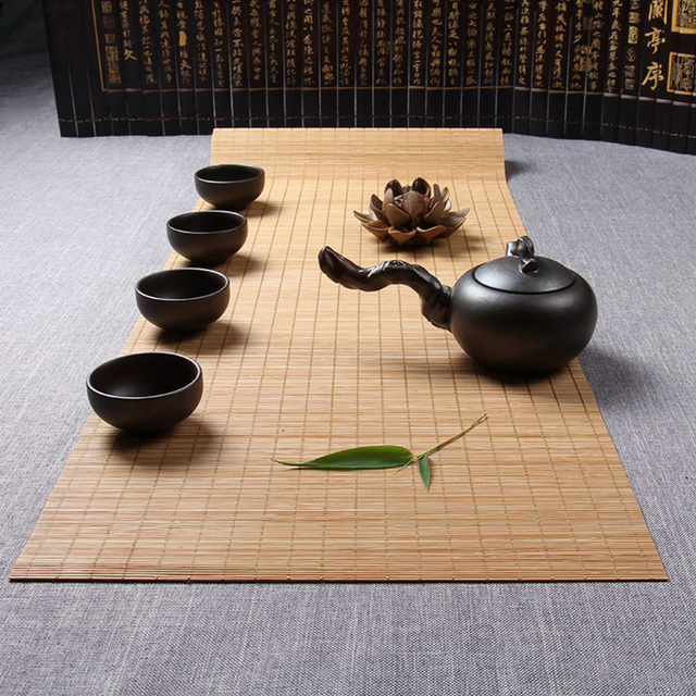 Yazi Bamboo Table Runner Placemat Tea Mats Pad Ceiling Decor Divider  Curtain Home Cafe Restaurant Decoration