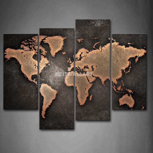 General world map black background 4 piece painting on canvas wall general world map black background 4 piece painting on canvas wall art picture print art 3 gumiabroncs Image collections
