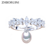 ZHBORUINI 2019 Fashion Pearl Ring Drop Natural Freshwater Pearl Zircon Rings 925 Sterling Silver Jewelry For Women Wholesale