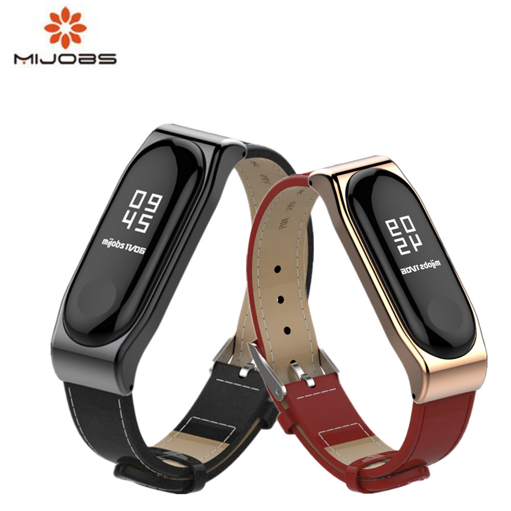 Mijobs Mi band 3 bracelet Wrist Strap Leather For Xiaomi Mi Band 3 Screwless Wrist Strap Smart Band Replace For Mi Band 3