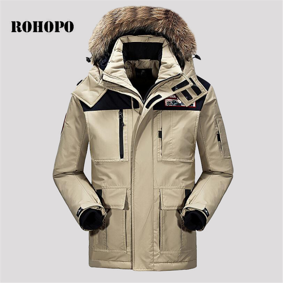 ROHOPO   Down   Windbreaker Fur collar Quality long   down   jacket   Down     Coat   Waterproof Tactical military   down   keep warm parka   coat