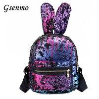 2018 Bling Sequins Backpack Cute Big Rabbit Ears Double Shoulder Bag Women Colorful Mini Backpacks For