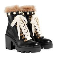 Натуральная кожа черная яловая кожа ботильоны женская обувь заклепки металлическая пряжка армейские ботинки Роскошная обувь женские диза