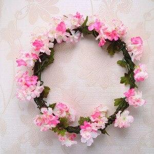 Image 5 - 230cm Silk Sakura Kirschblüte Reben Lvy Hochzeit Arch Dekoration Layout Home Party Rattan Wandbehang Garland Kranz Slingers