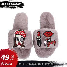 Ladies Shoes 2018 Home Slippers For Women Winter Warm Cozy Flock Flat Shoes Indoor Short Plush Soft Woman Lipstick Slippers SA13 цены онлайн