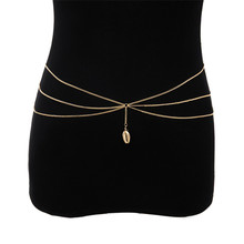 Vintage Shell Dangle Waist Belt Chain for Women Simple Multilayer Metal Tassel Bikini Belly Chain Beach Body Jewelry 2019 stylish solid color multilayer chain bikini body chain for women