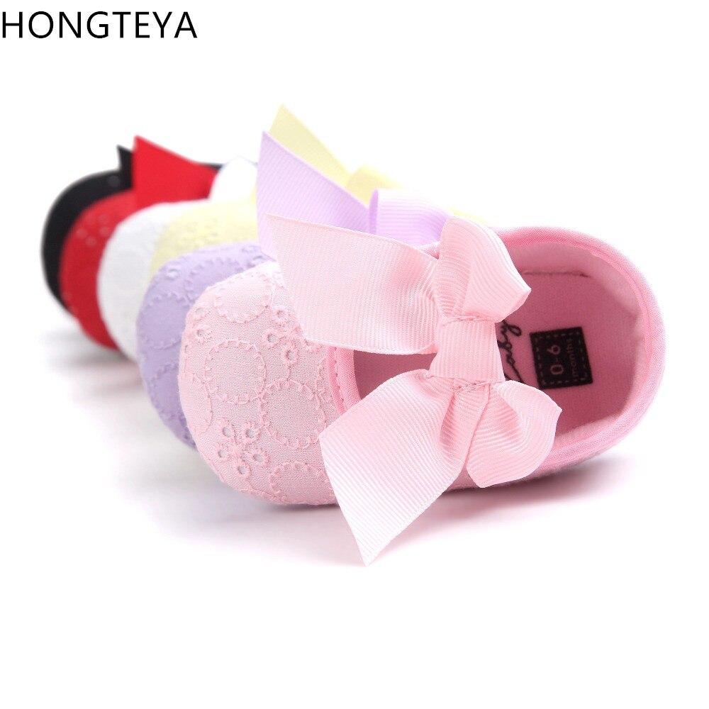Hongteya marca carino principessa infantile ragazza scarpe con arco belle calzature per bambini neonate neonato bambino scarpe con la suola morbida