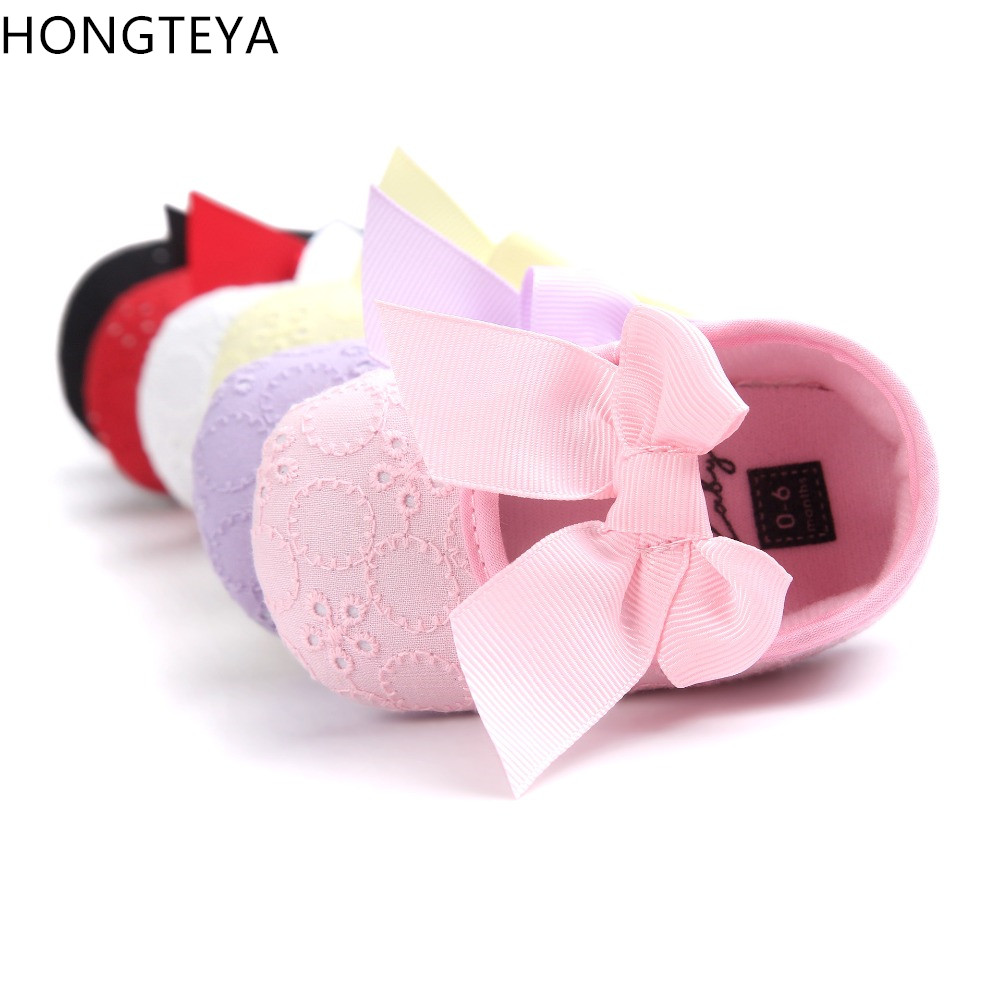 Hongteya Brand Cute Princess Infant Girl Shoes With Bow lovely Childrens Footwear Baby Girls Newborn Toddler Soft Soled Shoes