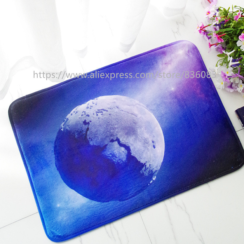 Front door mat bathroom mat soft warm strong water absorption 3D The planet carpet  with anti-slip back
