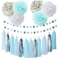 20pcs Set Paper Flower Balls Paper Tassels Paper Garlands Decoration Set For Party Wedding Ornament Home