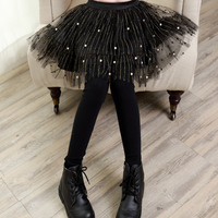Envío libre 3-13y 2018 primavera otoño chicas leggings falda negro Encaje niños faldas leggings pantalones de los niños pantalones largos