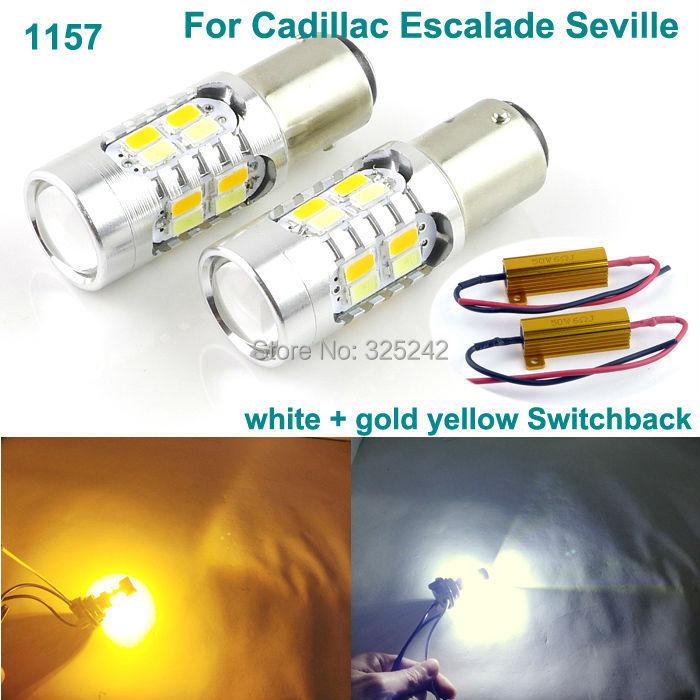 For Cadillac Escalade Seville led light Excellent 1157 BAY15D Dual-Color Switchback LED DRL Parking+front Turn Signal light