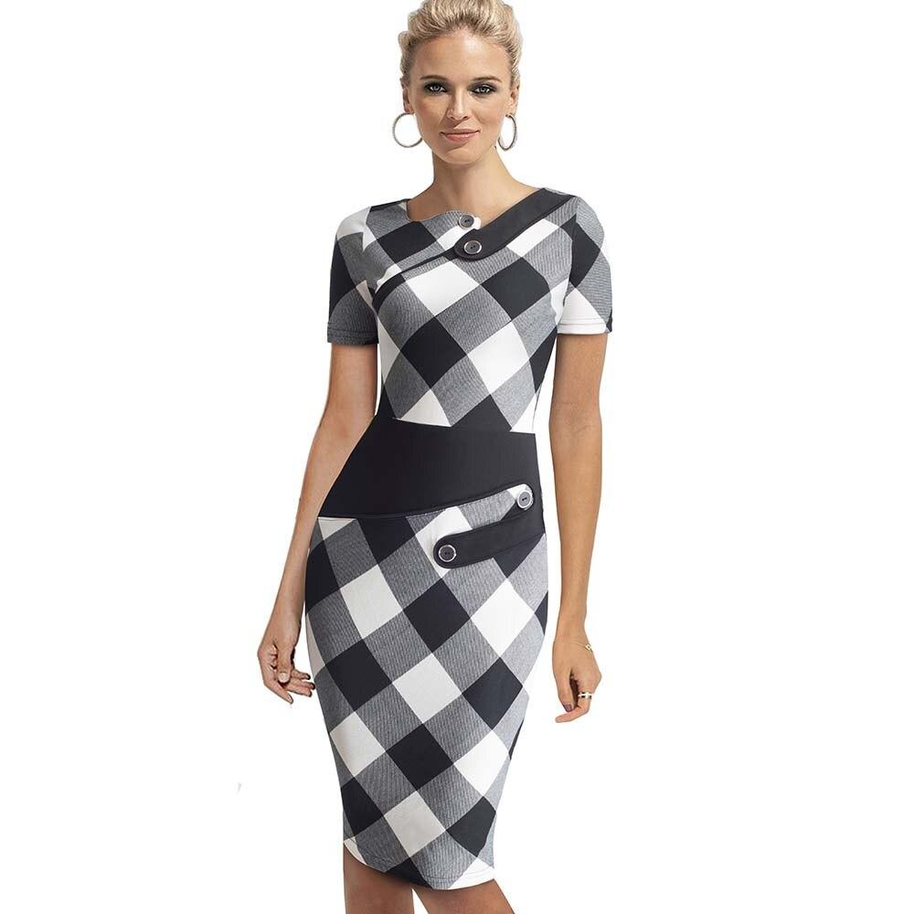 Черное платье туника для женщин Формальная работа Офис Оболочка Лоскутная линия Асимметричная шея длина до колена размера плюс карандаш платье B63 B231 - Цвет: Black n white grid