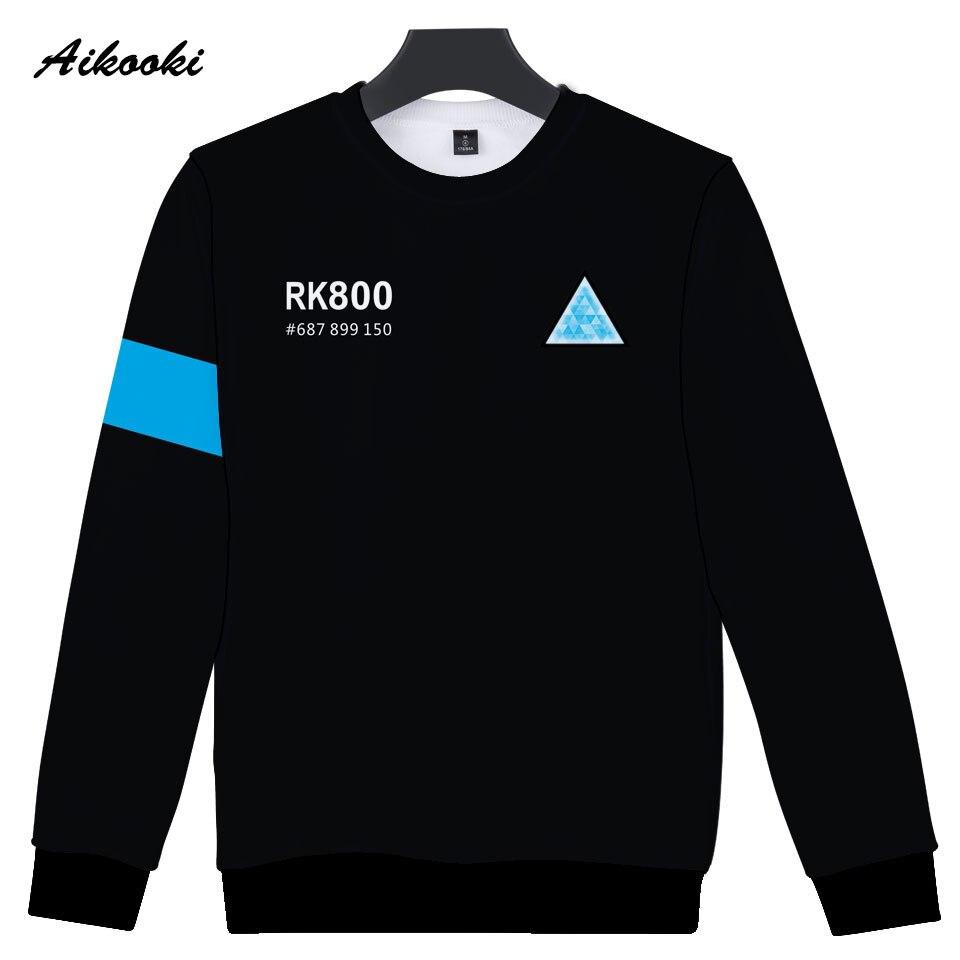Aikooki RK800 Detroit Become Human 3D Sweatshirt Men/Women Hip Hop 3D Hoodies Sweatshirt Capless Polluver Boys/Girls Cool Tops