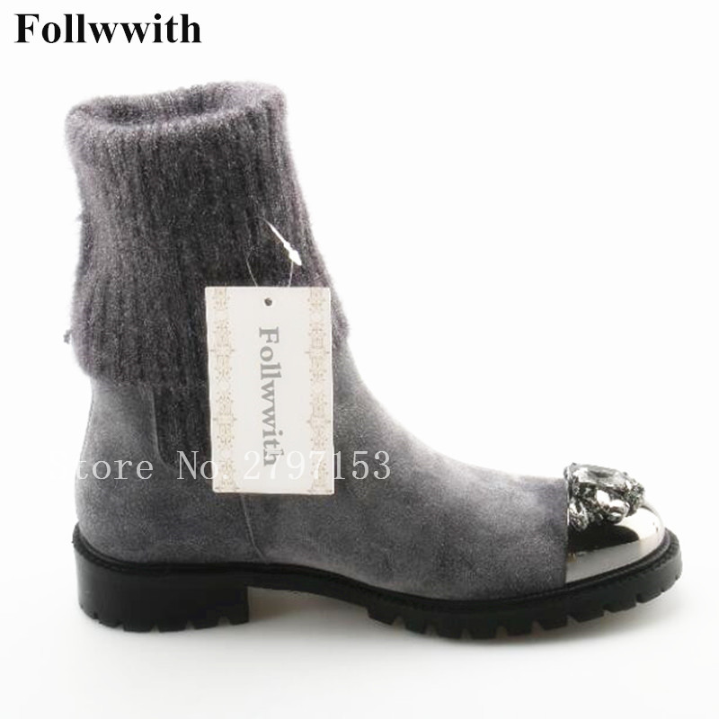 2018 Follwwith Winter Warm Crystal Gold Metal Round Toe Women Sock Ankle Boots Patchwork Wool Fur Suede Low Heel Runway Shoes crystal embellished metal toe women sock boots short booties low heel mid calf boots luxury brand star runway winter warm shoes