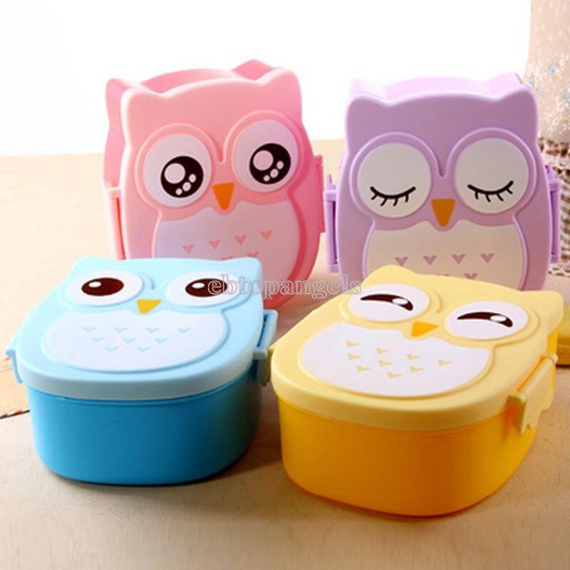 Сова Портативный Bento Коробки для обедов Пластик милый мультфильм Еда контейнер для хранения фруктов