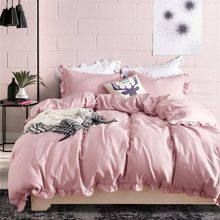 Modern Flouncing Bedding Sets Solid Color Duvet Cover Set with Ruffles Pillowcase Quilt Cover US Size Twin/Queen/King 10 Colors(China)