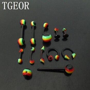 Venta al por mayor reggae rasta joyas de cuerpo 180 piezas estilos mixtos flexible labio piercing ceja lengua barra envío gratis