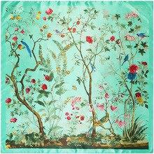 90เซนติเมตรสุภาพสตรีเสื้อคลุมผ้าไหมbabushkaดอกไม้ป่าเลดี้ผ้าพันคอสี่เหลี่ยมขนาดใหญ่ผ้าพันคอ ใหม่ที่มีคุณภาพสูงแฟชั่นสุภาพสตรีผ้าพันคอ90เซนติเมตร*