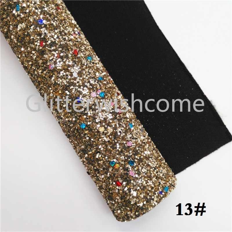 Glitterwishcome 21X29CM A4 Formato Di Natale Tessuto Glitter, Chunky Tessuto di Scintillio di Cuoio Lenzuola, di scintillio Del Vinile per Archi, GM444A