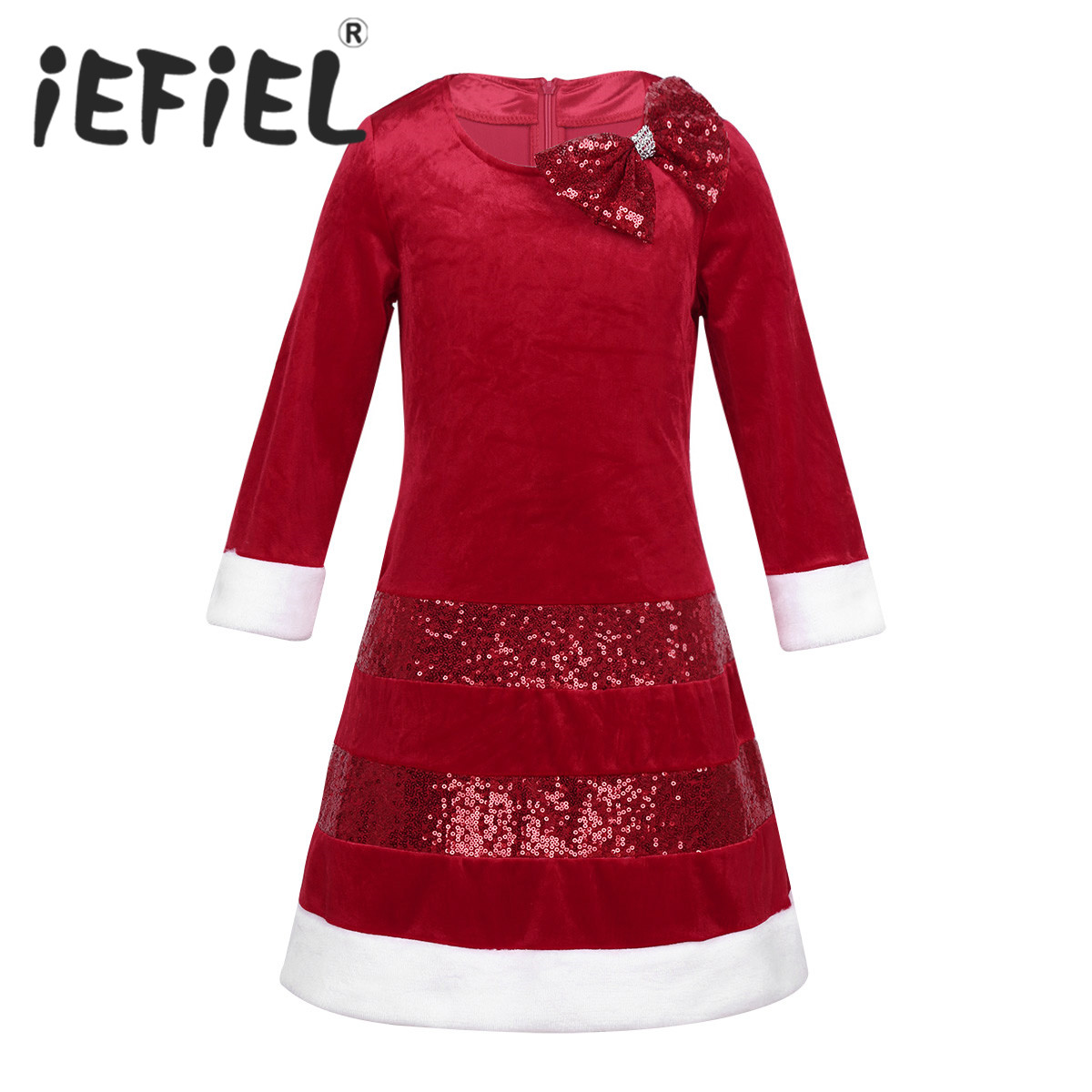 iEFiEL Children Sequins Bowknot Christmas Costume Girls New Year Xmas Princess Costume Dresses for Xmas Party Daily Wear