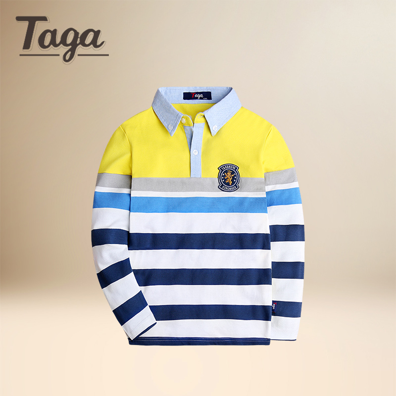 218c3840b TAGA popular Top quality kids boys long sleeve polo shirts baby toddler big  spring autumn cotton striped children clothing brand