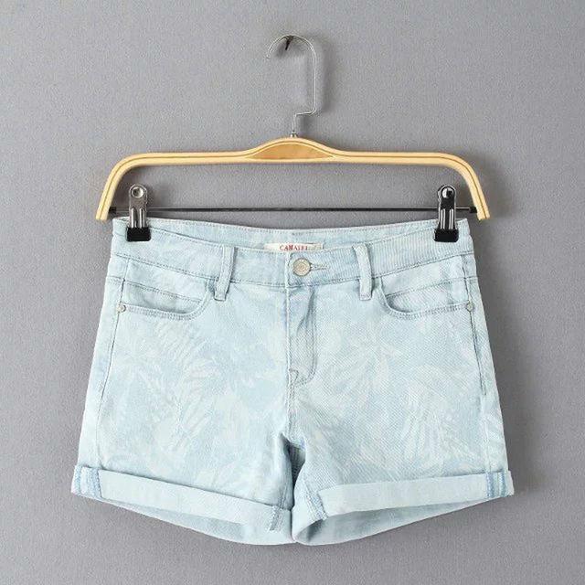 2016 летом новый Европейский уличный стиль случайные джинсовые шорты женщин тропический печати хлопок джинсовые шорты женский керлинг