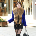 Real Rabbit Fur Coat Women With Raccoon Dog Fur Collar Winter Fur Coats Warm New Arrival Autumn Winter Overcoat Fashion Female