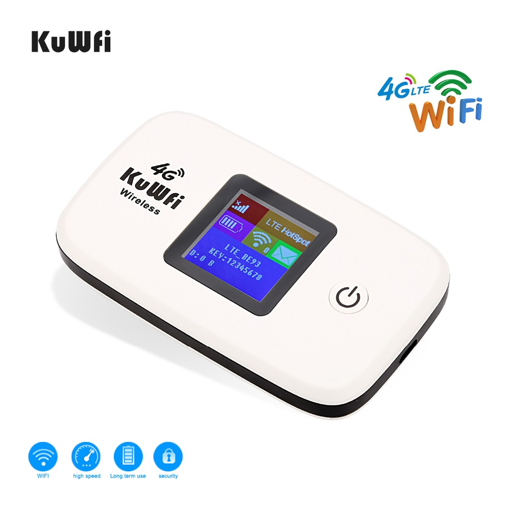 Image 2 - KuWfi Unlocked 150Mbps 3G 4G LTE Wifi Router Mobile Wifi Hotspot 2400mAH Battery With SIM Card Slot LCD Display Up To 10 Users-in 3G/4G Routers from Computer & Office