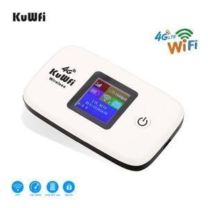 Image 2 - Kuwfi desbloqueado 150mbps 3g 4g lte wifi roteador móvel wifi hotspot 2400mah bateria com slot para cartão sim display lcd até 10 usuários