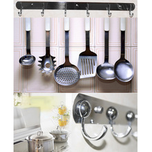 Stainless Steel Wall Mounted Kitchen Rail Spoon Storage Rack Strong  Bathroom Clothing Hanging Rail 5 Hooks Wardrobe Rails