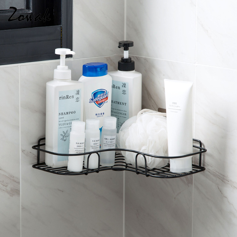 Bathroom Corner Shelf Organizer Storage Kitchen Rack Adhesive Iron Shower Rack Organizer Shampoo Condiment Bottles Drill Free
