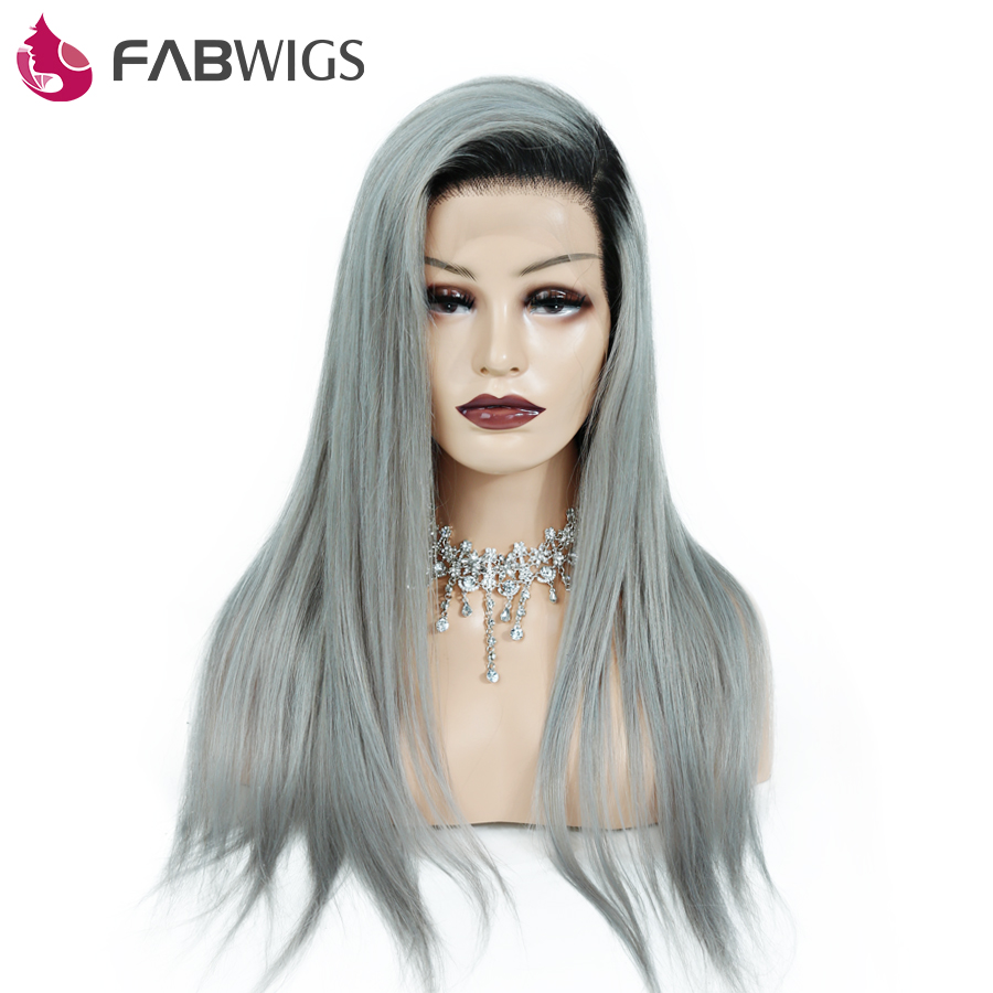 Fabwigs Pre Plucked Full Lace Human Hair Wigs with Baby Hair Ombre 1B Grey Silky Straight Human Hair Wigs Brazilian Remy Hair