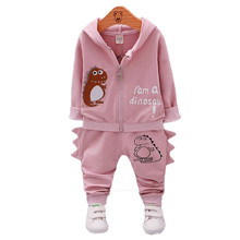 2017 Autumn Kids Clothing Sets Embroidered dinosaurs set Children Cotton Casual Hoodied Coats boys Clothes Sports 2 Pieces Suit