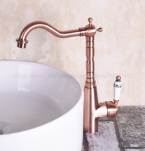 цена на Bathroom Basin Sink Faucet Antique Red Copper Single Handle Kitchen Tap Faucet Mixer hot and cold water tap znf132