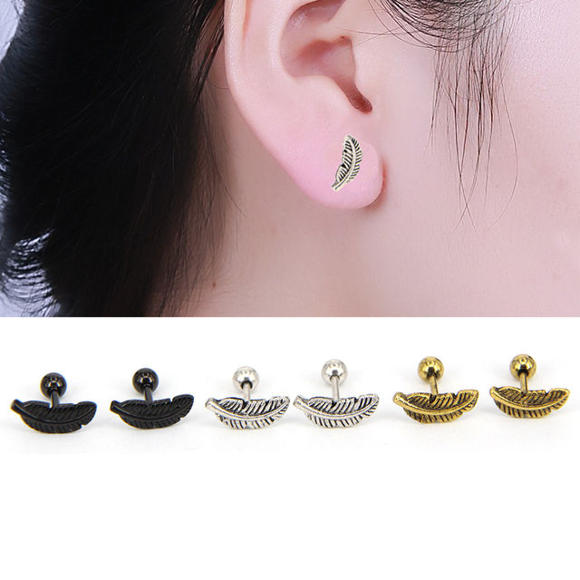 ad71fbb57 1PC Surgical Steel Feather Cartilage Helix Barbell Bar Ear Stud Piercing  Earring Jewelry For Sexy Girls