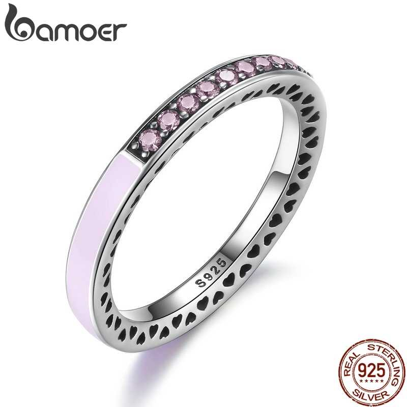 BAMOER 100% 925 Sterling Silver Radiant Hearts Light Pink Enamel & Clear CZ Finger Ring Women Mother Gift Jewelry PA7603