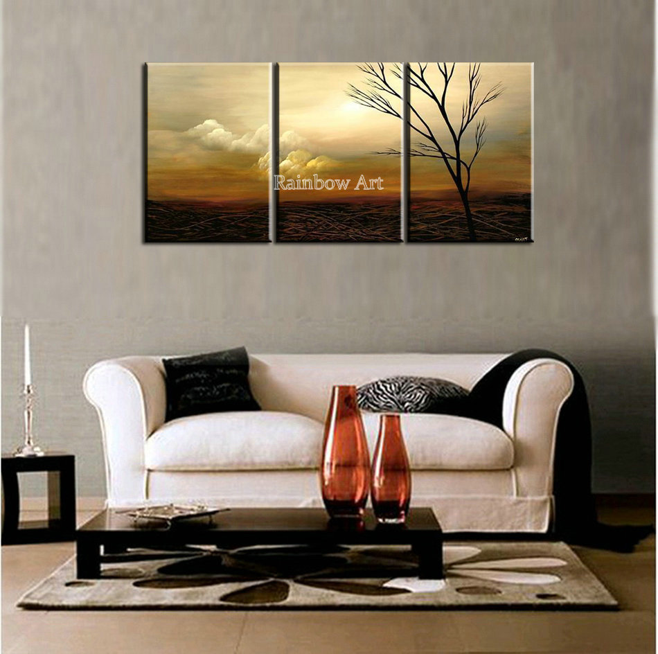 3 piece scenery drawing modern picture wall art handmade - Modern wall decor for living room ...