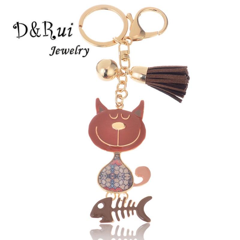 Trendy Cat Enamel Zinc Alloy Key Chains For Women Men Girl Boy Car Bag Key Chain Ring Charm Cartoon Animal Metal Pendant Jewelry