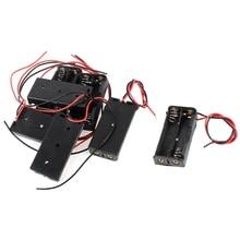 7 Pcs Preto Vermelho Fios Cabo Conectores 2x AAA Bateria Caixa Caso Titular