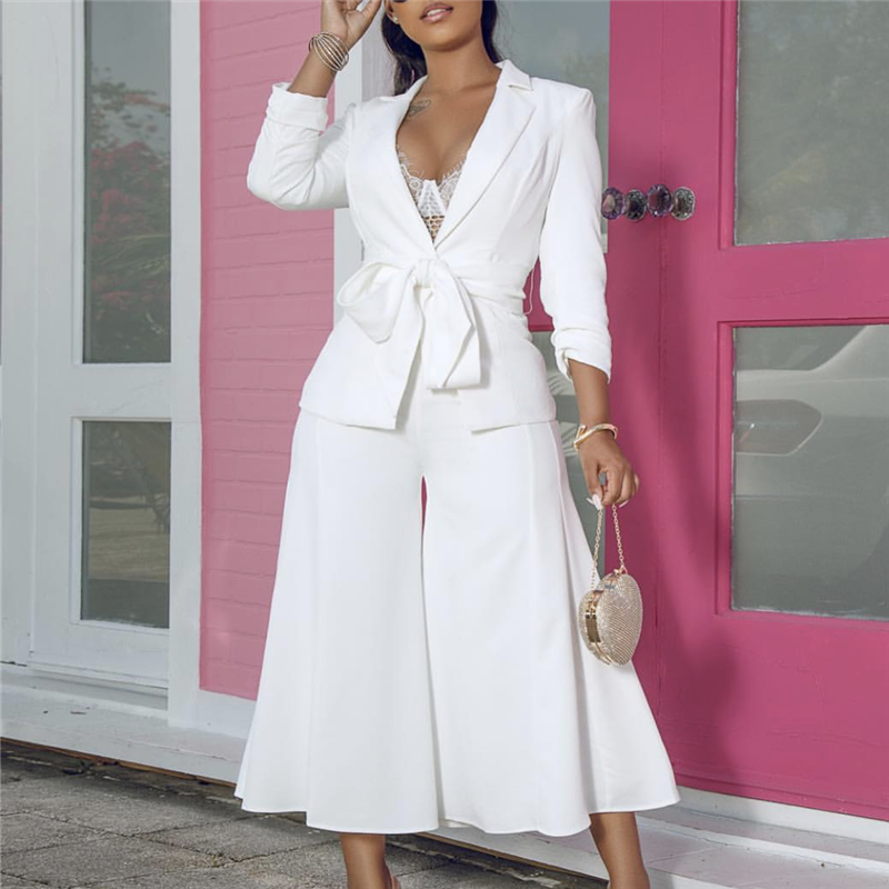 Office Lady Blazer with Pantskirts Suit set Elegant 2 Piece Sets Sashes Women Jackets Trousers Wide