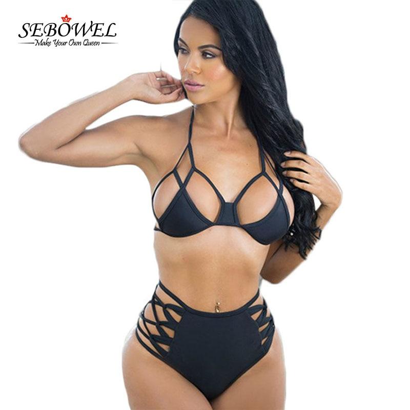 2016 Women High Waist Micro Bikini Set Cut Out Caged Sexy Swimwear Brazilian Push Up Women Swim Suits Plus Size XXL XXXL swimsuit top