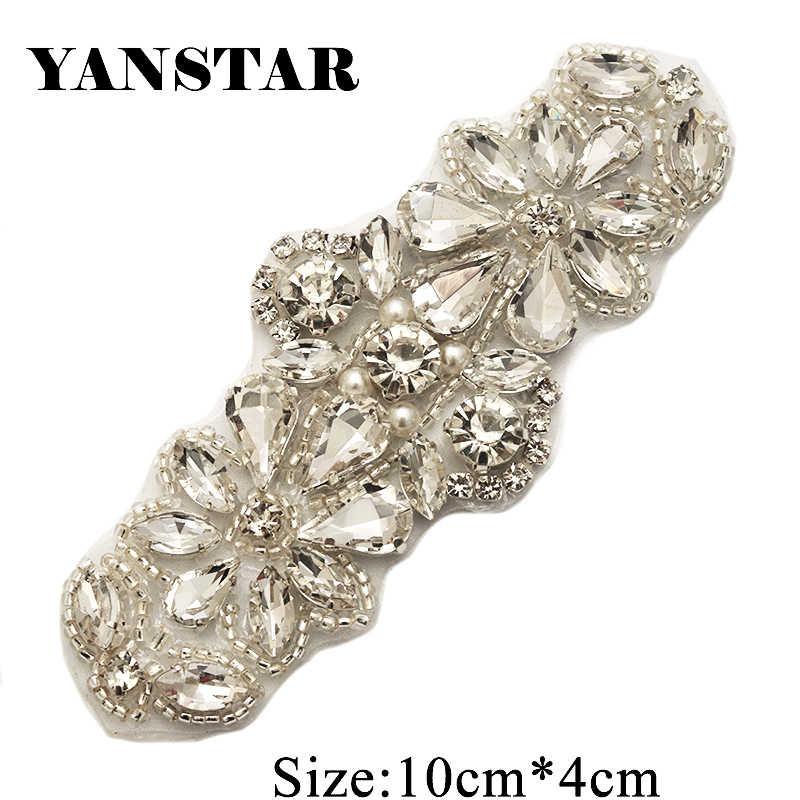 YANSTAR 2PCS Handmade Gold Clear Crystal Rhinestones Appliques For Wedding  Bridal Dress Belt Rhinestones Accessories YS885 180017130c2b