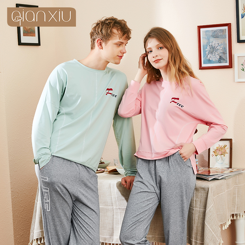 2019 Autumn New Couple Men's Cotton Long-sleeved Trousers Pajamas Round Neck Home Service Can Wear Simple Natural Home Service S