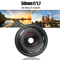 Meike 50mm F1.7 Manual Focus Lens for Sony Full Frame E mount Mirrorless Camera A6300 A6000 A6500 NEX3 NEX7 A7 A7II A7RIII