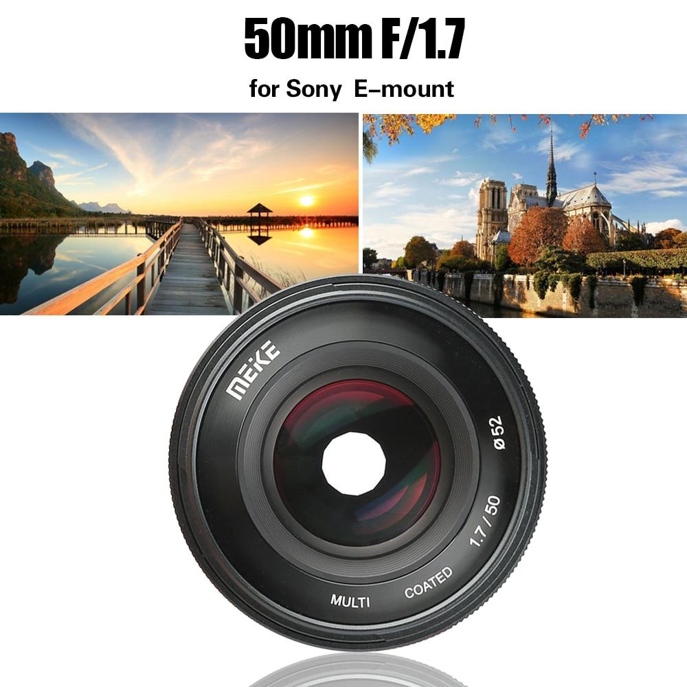 Meike 50mm F1.7 lente de enfoque Manual para Sony Full Frame E montaje cámara sin espejo A6300 A6000 A6500 NEX3 NEX7 A7 A7II A7RIII