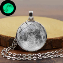 Moon Star Time Crystal Luminous Necklace Silver Alloy Pendant Glowing Sweater Chain Sky Sun